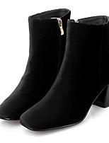 Для женщин Ботинки Замша Весна Черный Красный На плоской подошве