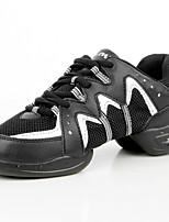 Women's Dance Sneakers Leatherette Synthetic Flats Practice Flat Heel Green/Yellow Black/Silver 1