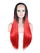 Black Red Straight Lace Front Natural Wigs for Women Costume Wigs Cosplay Synthetic Wigs