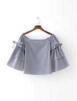 Tee-shirt Femme,Rayé Sexy simple Chic de Rue Eté Manches Longues Bateau Coton Fin Moyen