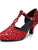 Maßfertigung Damen Latin Kunstleder Sandalen Sneakers Professionell Verschlussschnalle Blockabsatz Rot 5 - 6,8 cm