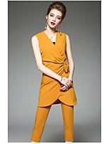 Chemise Pantalon Costumes Femme,Couleur Pleine Quotidien Moderne Eté Sans Manches Col Arrondi