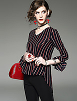Women's Going out Casual/Daily Vintage Chinoiserie Blouse,Solid Striped V Neck Long Sleeve Polyester