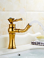 Modern По центруКерамический клапан Одной ручкой одно отверстие for  Золотая роза , Ванная раковина кран