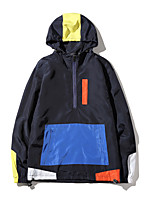 Men's Casual/Daily Hoodie Color Block Hooded Micro-elastic Polyester Long Sleeve Spring