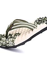 Men's Slippers & Flip-Flops Comfort PU Spring Fall Winter Casual Comfort Flat Heel Green Blue Dark Brown Flat