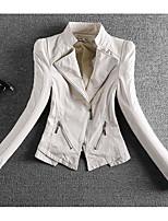 Для женщин На каждый день Весна Кожаные куртки Лацкан с тупым углом,просто Однотонный Обычная Длинный рукав