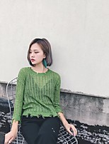 Standard Pullover Da donna-Per uscire Casual Semplice Moda città Tinta unita Rotonda Manica lunga Lana Primavera Medio spessoreMedia