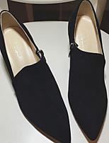 Для женщин Ботинки Удобная обувь Кожа Замша Весна Повседневный Черный На плоской подошве