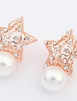 Damen Mädchen Ohrstecker Ohrringe Set Imitierte Perlen StrassBasis Kreisförmiges Einzigartiges Design Strass Perle Freundschaft