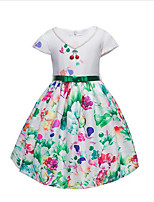 Girl's Fashion Floral Flower Dress,Cotton Summer Short Sleeve