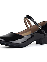Customizable Women's Modern Patent Leather Heels Practice Low Heel Ruby Silver Black Gold 1
