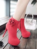 Для женщин Ботинки Босоножки Полиуретан Осень Зима Повседневный На толстом каблуке Черный Коричневый Красный 2,5 - 4,5 см
