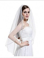 Wedding Veil One-tier Elbow Veils Fingertip Veils Beaded Edge Tulle