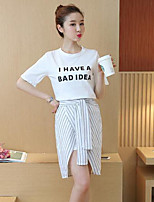 Women's Casual/Daily Simple T-shirt Skirt Suits,Letter Round Neck Short Sleeve Micro-elastic