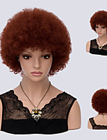 Auburn Curly Short Afro Kinky Curly High Temperature Heat Resistant Brwon Color Synthetic Wig