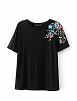 T-shirt Da donna Sensuale Semplice Moda città Estate,Ricamato Rotonda Cotone Manica corta Sottile Medio spessore