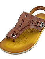 Men's Sandals Comfort Nappa Leather Cowhide Spring Casual Dark Brown Khaki Flat