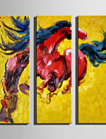 E-HOME Stretched Canvas Art Looking Back At The Red Horse Decoration Painting Set Of 3