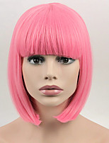 Fashion Sexy Women Straight Hair Short Wigs Pink Color Cosplay Synthetic Wigs