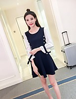 Women's Going out Casual/Daily Two Piece Dress,Solid Round Neck Mini Long Sleeve Polyester Summer Mid Rise Micro-elastic Medium