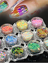 13bottles/set New Fashion Nail Art Glitter Horse Eye Leaf Paillette DIY Graceful Shining Slice Charming Rainbow Sequins Charm Decoration MB01-13