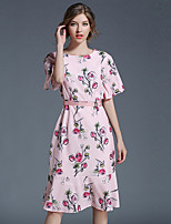 YHSPWomen's Going out Casual/Daily Simple Sophisticated A Line Sheath Chiffon DressFloral Printing Round Neck Midi Short SleevePolyester