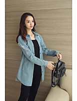 Women's Going out Casual/Daily Simple Street chic Spring Fall Denim Jacket,Solid Shirt Collar Long Sleeve Long Others