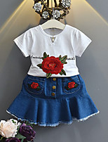 Girls' Embroidered Sets,Cotton Polyester Summer Spring Short Sleeve Clothing Set