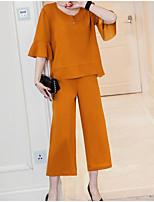 Women's Casual/Daily Simple Fall T-shirt Skirt Suits,Solid Round Neck 3/4 Sleeve Micro-elastic