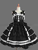 Une Pièce/Robes Gothique Lolita Cosplay Vêtrements Lolita Rétro Mancheron Sans Manches Court / Mini Robe Pour