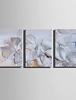 E-HOME Stretched Canvas Art  White Apricot Leaves Decoration Painting Set Of 3