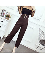Women's Casual/Daily Simple Summer Blouse Pant Suits,Solid Strapless Sleeveless Micro-elastic