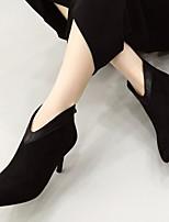 Для женщин Ботинки Босоножки Полиуретан Осень Зима Повседневный На толстом каблуке Черный 2,5 - 4,5 см