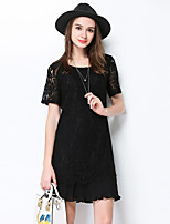 MEIDONGTAI  Women's Going out Casual/Daily Party Shift DressSolid Round Neck Above Knee Short Sleeve Polyester Spring Summer Mid Rise Micro-elastic