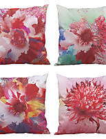 Set of 4  European Flower Pattern Rayon Material (100% Polyester) Looks Like Silk Feeling Square Throw Pillow Cases Sofa Cushion Cover (18*18inch)