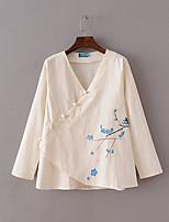 Tee-shirt Femme,Imprimé Sortie Décontracté / Quotidien Sexy simple Chic de Rue Eté Manches Longues Col en V Coton Fin Moyen