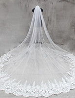 Bride Bridesmaids Beige Wedding Veil One-tier Cathedral Veils Lace Applique Edge Tulle Netting