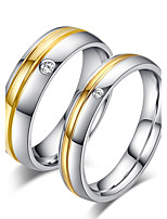 2PCS Couple's   Ring Band Rings Simple Bridal Rose Gold Titanium Steel Ring Jewelry Fof Wedding Party Anniversary Engagement
