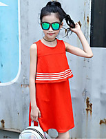 Girl's Stripe Solid Color Dress,Cotton Cotton Blend Summer Sleeveless