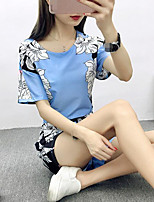 Women's Going out Casual/Daily Simple Shirt Pant Suits,Floral Print Round Neck Short Sleeve Micro-elastic