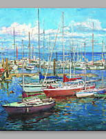 IARTS Oil Painting Modern Abstract Landscape Some Boats Stopped at Port Art Acrylic Canvas Wall Art For Home Decoration