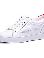 Women's Sneakers Comfort Cowhide Spring Outdoor Casual Flat Heel Green Red Under 1in