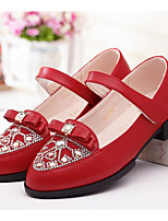 Girls' Flats First Walkers PU Spring Fall Casual Walking First Walkers Magic Tape Low Heel Light Pink Ruby White Flat
