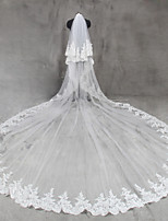 Bride Bridesmaids Beige / White Wedding Veil Two-tier Cathedral Veils Lace Applique Edge Tulle Netting