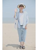Women's Casual/Daily Simple Spring Fall Denim Jacket,Color Block Shirt Collar Long Sleeve Regular Cotton Acrylic Sequins