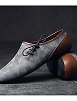 Для мужчин Туфли на шнуровке Удобная обувь Кожа Тюль Весна Повседневный Бежевый Серый Коричневый На плоской подошве