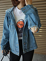 Women's Going out Street chic Sophisticated Spring Fall Denim Jacket,Solid Square Neck Long Sleeve Short Cotton