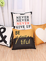 Set Of 4 Cotton/Linen Letter Pattern Pillow Cover Creative Square Pillow Case