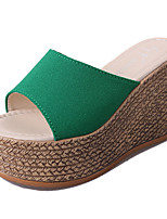Women's Slippers & Flip-Flops PU Summer Dress Wedge Heel Black Beige Green 2in-2 3/4in